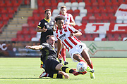 Josh Payne and Jacob Maddox during the EFL Sky Bet League 2 match between Cheltenham Town and Crawley Town at LCI Rail Stadium, Cheltenham, England on 4 August 2018. Picture by Antony Thompson.