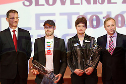 Igor Luksic, Bostjan Buc, Martina Ratej and Peter Kukovica during the Slovenia's Athlete of the year award ceremony by Slovenian Athletics Federation AZS, on November 12, 2008 in Hotel Mons, Ljubljana, Slovenia.(Photo By Vid Ponikvar / Sportida.com) , on November 12, 2010.
