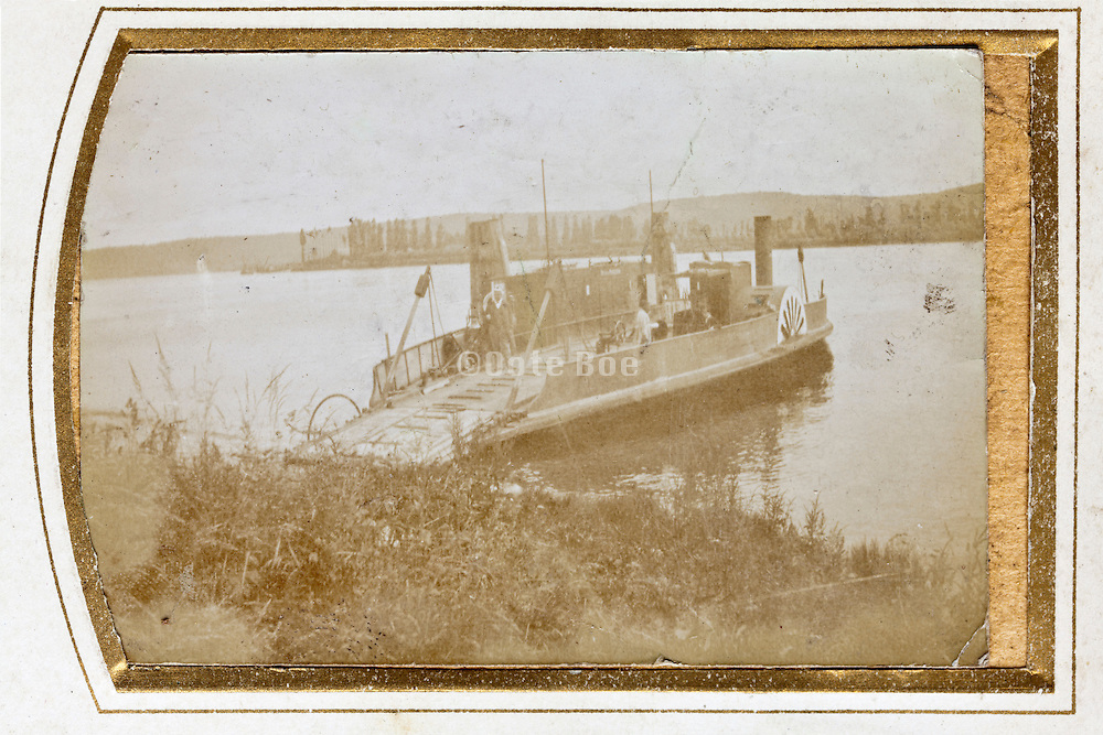 early 1900s ferry river crossing rural France
