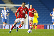 Bristol City striker Jonathan Kodija (22) on the ball during the Sky Bet Championship match between Brighton and Hove Albion and Bristol City at the American Express Community Stadium, Brighton and Hove, England on 20 October 2015. Photo by Phil Duncan.