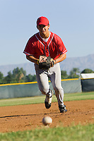 Baseball Infielder Fielding Ground Ball