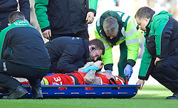 LIVERPOOL, ENGLAND - Sunday, March 8, 2015: Liverpool's Martin Skrtel receives treatment after going down injured against Blackburn Rovers during the FA Cup 6th Round Quarter-Final match at Anfield. (Pic by David Rawcliffe/Propaganda)