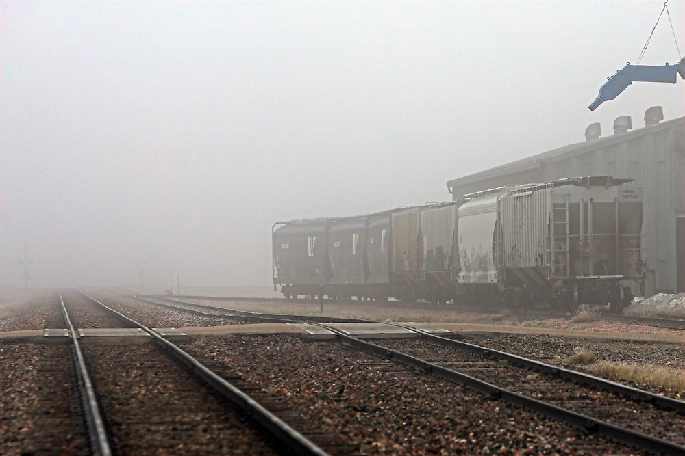 On the grain elevator siding in downtown Friend, NE, a few hoppers await loading as a heavy fog hangs over the town.