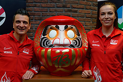 06–01-2020 NED: CEV Tokyo Volleyball European Qualification Women, Apeldoorn<br /> Press moment and representatives of the eight national teams for one spot Tokyo 2020 / Had coach Giovanni Guidetti of Turkey, Eda Erdem Dundar #14 of Turkey and Daruma, the founder of the Zen.