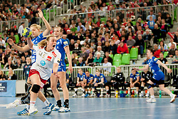 Isabel Blanco #5 of Larvik during handball match between RK Krim Mercator (SLO) and Larvik HK (NOR) in second game of semi final of EHF Women's Champions League 2012/13 on April 13, 2013 in Arena Stozice, Ljubljana, Slovenia. (Photo By Urban Urbanc / Sportida).