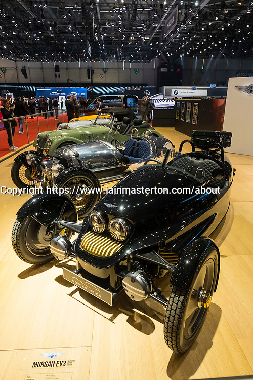Morgan EV3 electric 3-wheeled car at 87th Geneva International Motor Show in Geneva Switzerland 2017