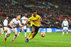 February 13, 2019 - London, England, United Kingdom - Borussia Dortmund defender Dan-Axel Zagadou slips Tottenham defender Juan Foyth during the UEFA Champions League match between Tottenham Hotspur and Ballspielverein Borussia 09 e.V. Dortmund at Wembley Stadium, London on Wednesday 13th February 2019. (Credit: Jon Bromley | MI News & Sport Ltd) (Credit Image: © Mi News/NurPhoto via ZUMA Press)
