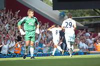 Photo: Tony Oudot. <br /> West Ham United v Manchester City. Barclays Premiership. 11/08/2007. <br /> Geovanni of Manchester City celebrates their second goal with a dejected Robert Green of West Ham in the foreground