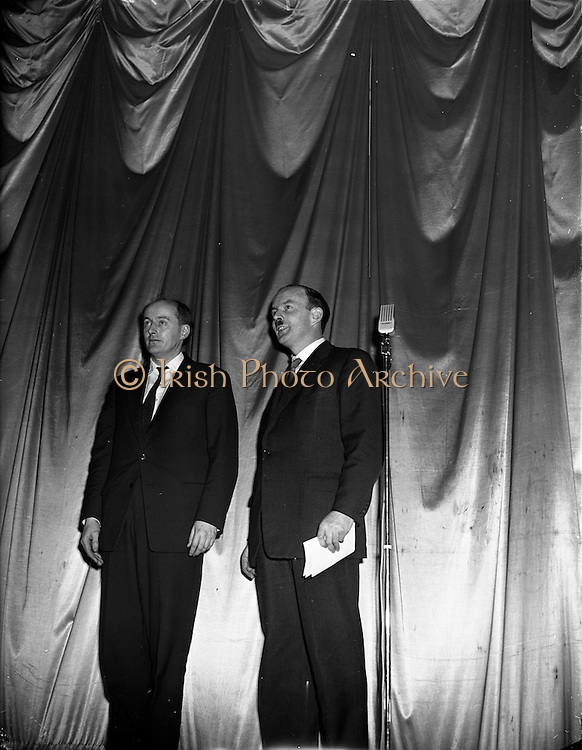 05/02/1960<br /> 02/05/1060<br /> 05 February 1960 <br /> Premiere of Mise Eire at the Regal Cinema, Dublin.  Picture shows Donall &Oacute; Morain, right, Chairman Gael Linn and George Morrison  who directed the film.