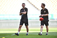 Head coach Ryan Giggs, left, of Wales national football team takes part in a training session before the semi-final match against China during the 2018 Gree China Cup International Football Championship in Nanning city, south China's Guangxi Zhuang Autonomous Region, 20 March 2018.