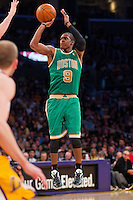 11 March 2012: Guard Rajon Rondo of the Boston Celtics shoots the ball against the Los Angeles Lakers during the secondhalf of the Lakers 97-94 victory over the Celtics at the STAPLES Center in Los Angeles, CA.