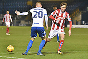 Bury Defender , Alex Whitmore (20) and Stoke City U23's Midfielder, Daniel Jarvis (44)  during the EFL Trophy match between Bury and U23 Stoke City at the JD Stadium, Bury, England on 8 November 2017. Photo by Mark Pollitt.