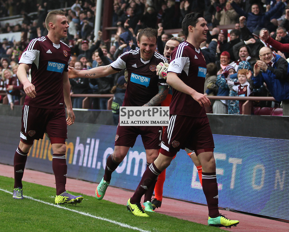 Ryan Stevenson and team mates celebrate with the home fans during the Heart of Midlothian FC  V Hibernian FC  Scottish Premiership  30th  March 2014 ©Edward Linton | SportPix.org.uk