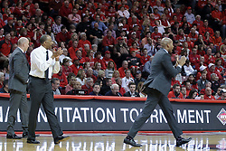 20 March 2017:  Johnny Dawkins during a College NIT (National Invitational Tournament) 2nd round mens basketball game between the UCF (University of Central Florida) Knights and Illinois State Redbirds in  Redbird Arena, Normal IL<br /> <br /> Jamill Jones in stride on right