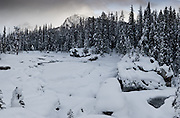Kicking Horse River under winter snows with Mount Stephen and Mount Dennis in the distance. This is a 105 photograph stitched image.  Not because I had to, but because I wanted to see if I could do this.