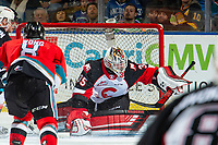 KELOWNA, BC - NOVEMBER 30: Taylor Gauthier #35 of the Prince George Cougars makes a second period save against the Kelowna Rockets at Prospera Place on November 30, 2019 in Kelowna, Canada. (Photo by Marissa Baecker/Shoot the Breeze)