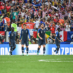 Team France looks dejected during the World Cup Final match between France and Croatia at Luzhniki Stadium on July 15, 2018 in Moscow, Russia. (Photo by Anthony Dibon/Icon Sport)