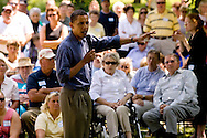 U.S. Presidential candidate Senator Barack Obama speaks during a campaign stop in Elkader, IA July 14, 2007.