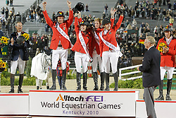 Team Germany winning the Gold medal<br /> Carsten Otto Nagel, Meredith Michaels-Beerbaum, Marcus Ehning, Meyer Janne Friederike<br /> Alltech FEI World Equestrian Games <br /> Lexington - Kentucky 2010<br /> © Dirk Caremans