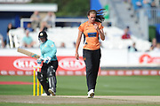 Lauren Bell of Southern Vipers opened the bowling and started with a maiden during the Women's Cricket Super League match between Southern Vipers and Surrey Stars at the 1st Central County Ground, Hove, United Kingdom on 14 August 2018.
