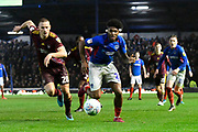 Ellis Harrison (22) of Portsmouth on the attack during the EFL Sky Bet League 1 match between Portsmouth and Ipswich Town at Fratton Park, Portsmouth, England on 21 December 2019.