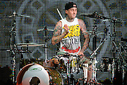 Drummer Travis Barker performing with Mix Master Mike in support of Lil Wayne on the I Am Still Music Tour at the Scottrade Center in St. Louis, MO, on April 10, 2011.