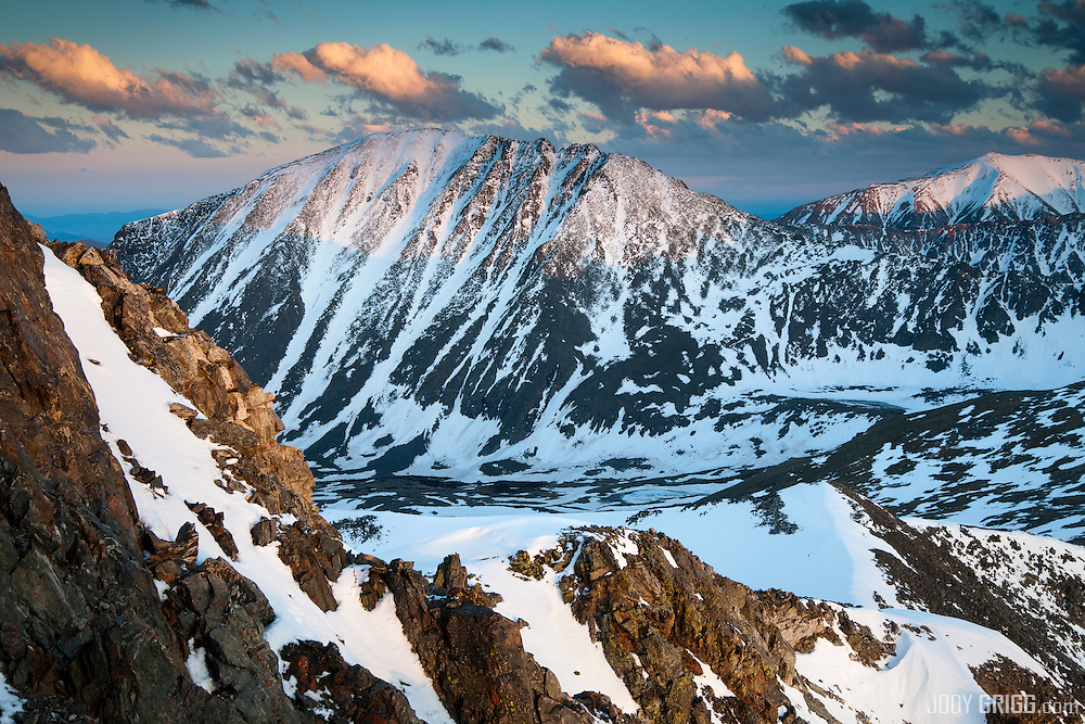 Sunset on Quandary Peak, the only fourteener peak in the Tenmile Range, Colorado.
