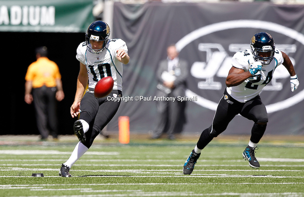 Jacksonville Jaguars kicker Josh Scobee (10) kicks off during the NFL week 2 football game against the New York Jets on Sunday, September 18, 2011 in East Rutherford, New Jersey. The Jets won the game 32-3. ©Paul Anthony Spinelli