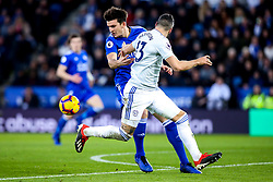 Callum Paterson of Cardiff City is tackled by Harry Maguire of Leicester City - Mandatory by-line: Robbie Stephenson/JMP - 29/12/2018 - FOOTBALL - King Power Stadium - Leicester, England - Leicester City v Cardiff City - Premier League