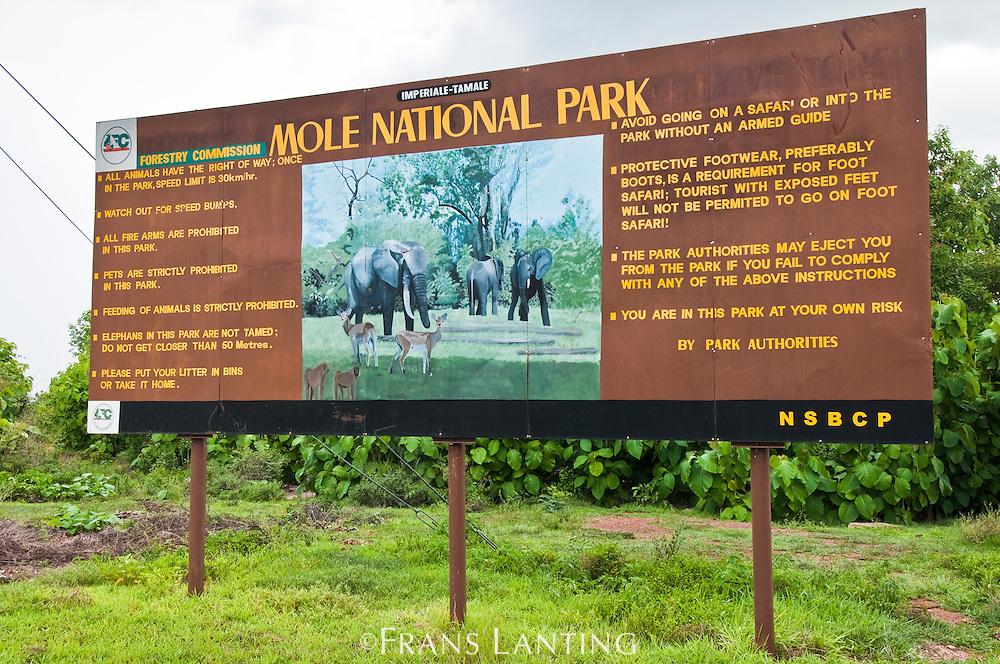 Mole National Park entrance sign, Ghana