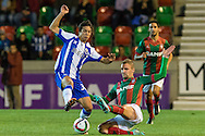 Portugal, FUNCHAL : Porto's Spanish midfielder Óliver (L)  vies with Maritimo's Portuguese midfielder Fernando Ferreira (R ) during Portuguese League football match Maritimo vs F.C. Porto at Barreiros Stadium in Funchal on January  25, 2015. PHOTO/ GREGORIO CUNHA