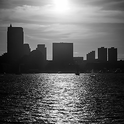 Boston skyline sunset black and white picture with Boston Harbor and Boston skyscrapers
