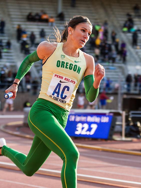 Penn Relays, college women sprint medley relay, Oregon, Raevyn Rogers