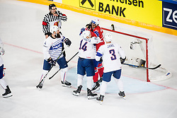 Stephane da Costa of France in fight with Andreas Martinsen of Norway during the 2017 IIHF Men's World Championship group B Ice hockey match between National Teams of Norway and France, on May 6, 2017 in Accorhotels Arena in Paris, France. Photo by Vid Ponikvar / Sportida