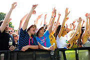Crowd with hands in the air, Metro Weekender, Get Loaded In The Park, London 2006