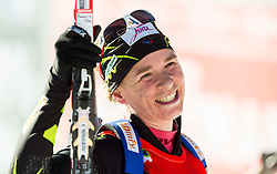 Second placed BESCOND Anais (FRA) celebrates at finish line during Women 12,5 km Mass Start at day 4 of IBU Biathlon World Cup 2014/2015 Pokljuka, on December 21, 2014 in Rudno polje, Pokljuka, Slovenia. Photo by Vid Ponikvar / Sportida