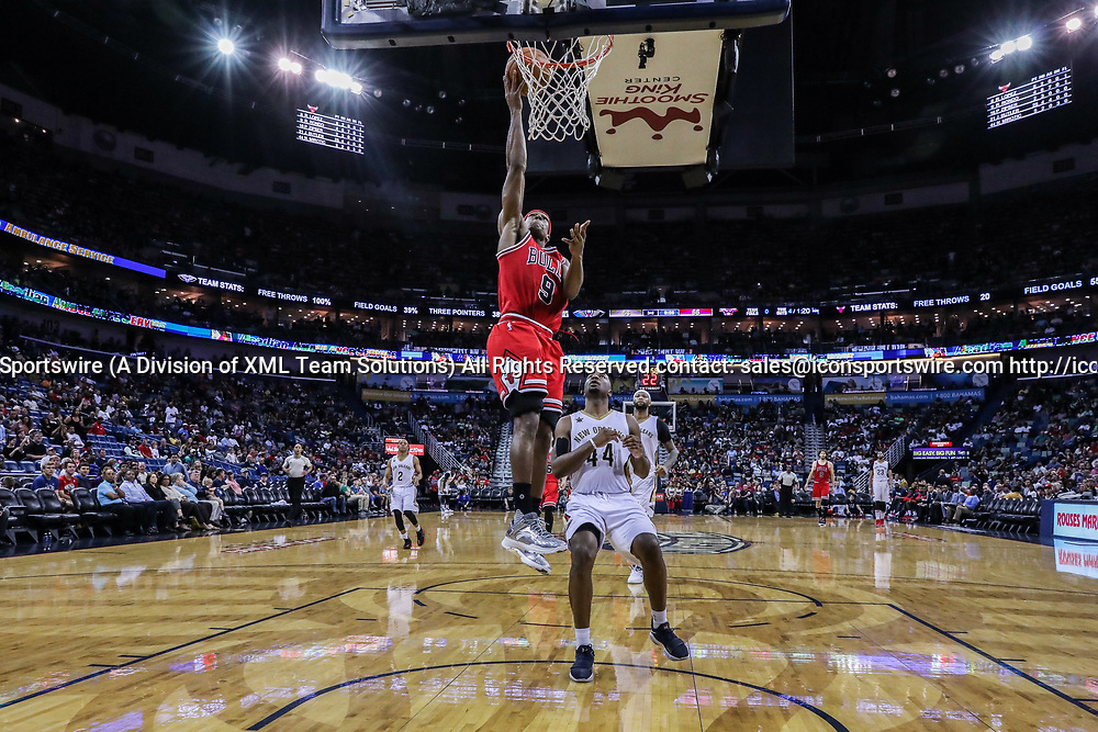 NEW ORLEANS, LA - APRIL 02: Chicago Bulls guard Rajon Rondo (9) drives to the basket against New Orleans Pelicans forward Solomon Hill (44) during the game between the New Orleans Pelicans and the against the Chicago Bulls on April 2, 2017, at Smoothie King Center in New Orleans, LA.  Bull won 117-110. (Photo by Stephen Lew/Icon Sportswire)