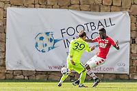 MARBELLA - 07-01-2017, Trainingskamp, AZ - FC Augsburg, FC Augsburg speler Takashi Usami, AZ speler Fernando Lewis