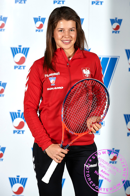 Warsaw, Poland - 2017 December 08: Tennis player Weronika Falkowska from Poland poses while Photo Session of Fed Cup Team of Polish Tennis Association at Mera Tennis Club on December 08, 2017 in Warsaw, Poland.<br /> <br /> Mandatory credit:<br /> Photo by &copy; Adam Nurkiewicz / Mediasport<br /> <br /> Adam Nurkiewicz declares that he has no rights to the image of people at the photographs of his authorship.<br /> <br /> Picture also available in RAW (NEF) or TIFF format on special request.<br /> <br /> Any editorial, commercial or promotional use requires written permission from the author of image.