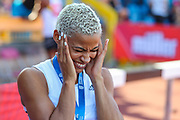 Women's Long Jump Final, bronze medalist, Jazmin SAWYERS shares a joke during the Muller British Athletics Championships at Alexander Stadium, Birmingham, United Kingdom on 25 August 2019.