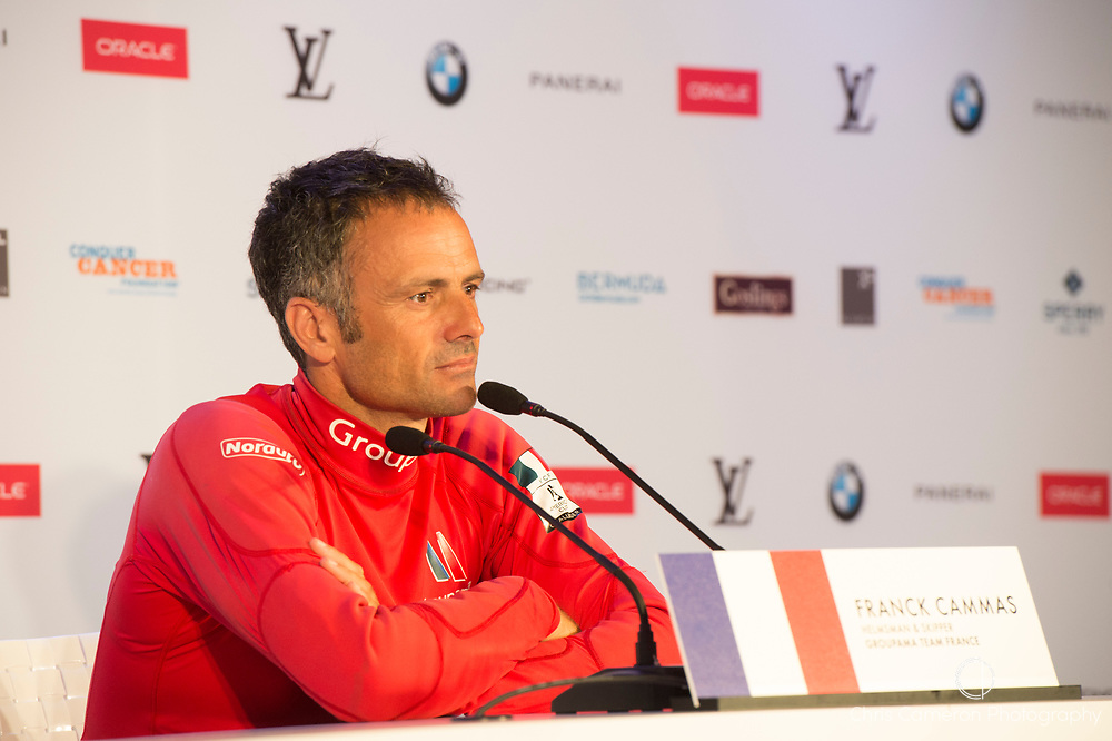 America's Cup Village, Bermuda. 3rd June 2017. Franck Cammas at the closing press conference for the America's Cup Qualifiers. Groupama Team France ended the regatta at the bottom of the points and so are eliminated.