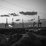 The industrial port of Gioia Tauro, near of the tent camp of San Ferdinando. It's the biggest industrial port in Europe