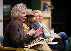 Professor Beth Kraig speaks at a forum discussion of issues surrounding deaths of African-Americans by police and is sponsored by the Diversity Center, Women's Center and CCES held in the Scandinavian Center at PLU on Thursday, Dec. 4, 2014. (PLU Photo/John Froschauer)