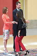 King Felipe VI of Spain, Queen Letizia of Spain and Alejandra Romero, Duchess of Suarez attend the Ceremony to mark the bicentennial of the founding of the Council of the Greatness of Spain at Palacio de El Pardo on June 16, 2015 in Madrid