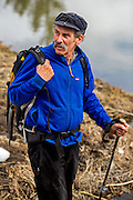 April 12, 2015 - Jackson Hole, WY: Dr. Bruce Hayse hiking in the hills above Slide Lake.