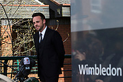 UNITED KINGDOM, London: 16 April 2018 Star of ITV's Saturday Night Takeaway Ant McPartlin delivers a statement to the media outside of Wimbledon Magistrates Court this afternoon after pleading guilty to charges of drink driving. The presenter was issued with a £86,000 fine and a driving ban of 20 months. Rick Findler / Story Picture Agency