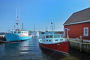 Fishing boats and shed<br /> Westport on Brier Island on the Digby Neck<br /> Nova Scotia<br /> Canada