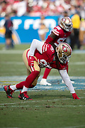 San Francisco 49ers defensive tackle Sheldon Day (96) gets set in a three point stance during the NFL week 4 regular season football game against the Los Angeles Chargers on Sunday, Sept. 30, 2018 in Carson, Calif. The Chargers won the game 29-27. (©Paul Anthony Spinelli)