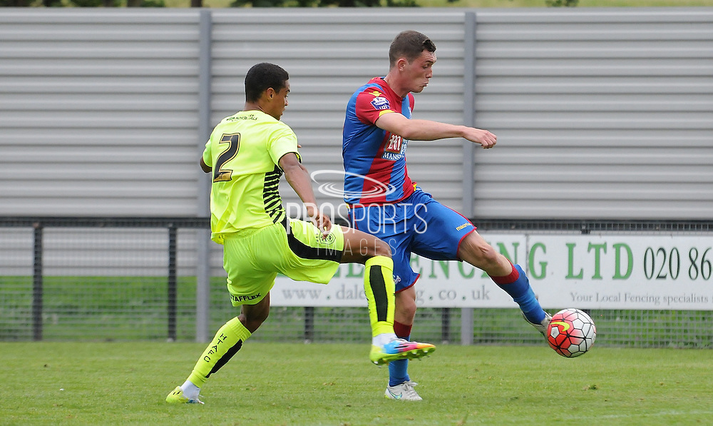 Connor Dymond fires in Palace's second during the U21 Professional Development League match between Crystal Palace U21s and Huddersfield U21s at Imperial Fields, Tooting, United Kingdom on 7 September 2015. Photo by Michael Hulf.