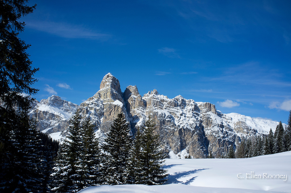 Sassongher Mountain seen from the snow covered Alta Badia ski resort near Corvara inThe Dolomites, South Tyrol, Italy